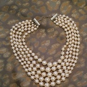 Vintage Avon Costume Pearl 5-Strand Necklace